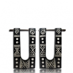 pin earring (black colored bone with carving)