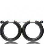 black sono wood earring / 316l steel pin