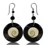 Resin earring with shiva eye inlay