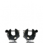 sono wood earring with metal inlay